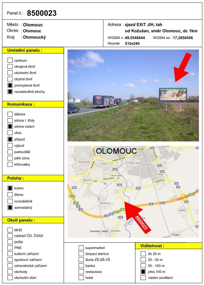 Billboard, Olomouc, sjezd EXIT JIH
