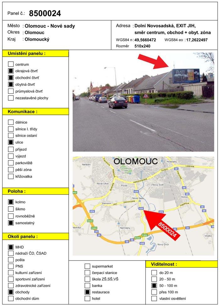 Billboard, Olomouc, Dolní novosadská