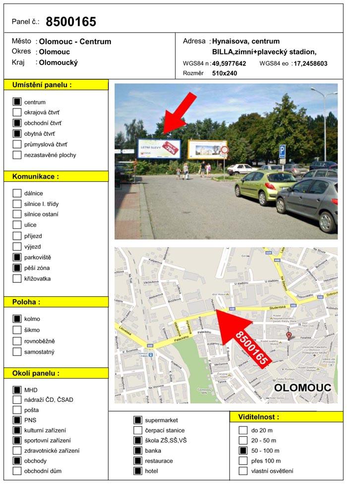 Billboard, Olomouc, Hynaisova