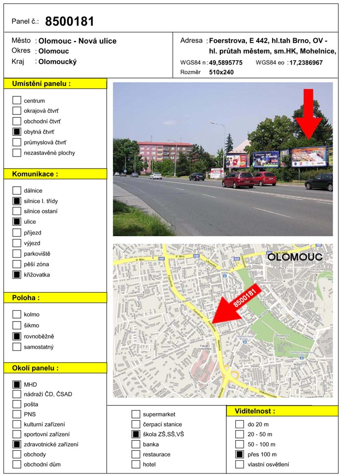 Billboard, Olomouc, Foerstrova